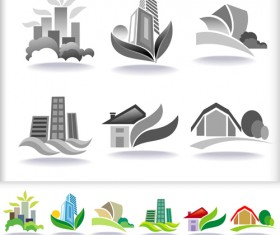 Leaf with home abstract icons vector 01