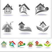 Link toLeaf with home abstract icons vector 02