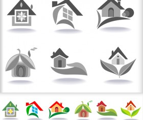 Leaf with home abstract icons vector 02