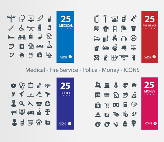Medical - fire service - police - money icons vector