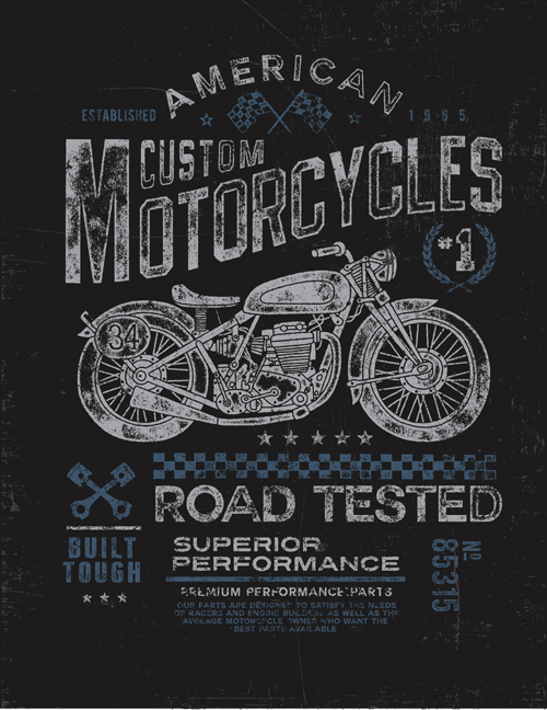 Motorcycle retro posters creative vector graphics 09