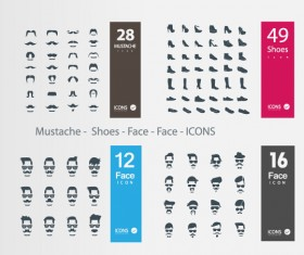 Mustache – Shoes – Face icons vector