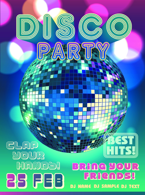 neon disco music party flyers design vector 02 free download