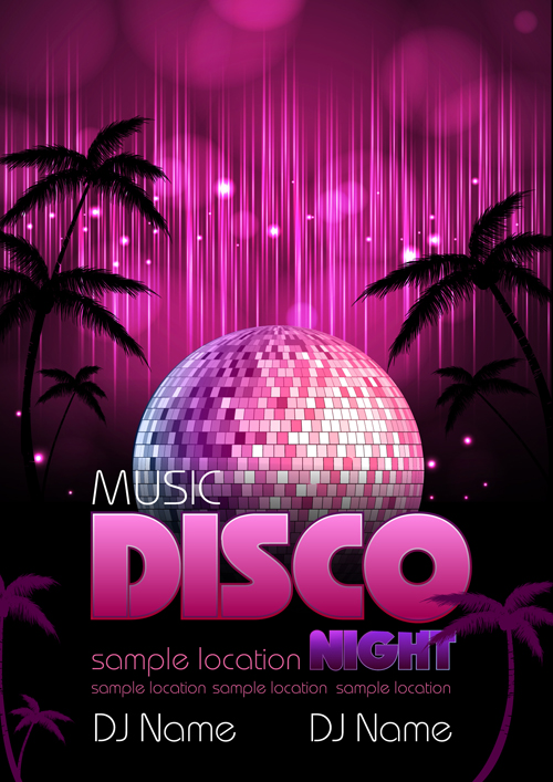 neon disco music party flyers design vector 05 free download