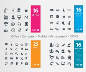 Office – Computer – Mobile – Management icons vector