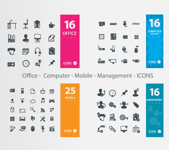 Office Computer Mobile Management icons vector