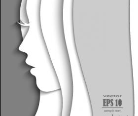 Paper girl portrait background vector 02