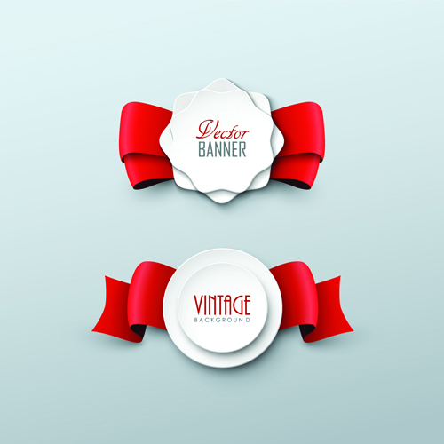 Paper Labels And Red Ribbon Vector 02 Vector Label