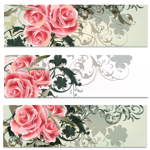 Pink flowers with floral banners vector