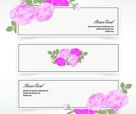Pink rose banner vector material 01