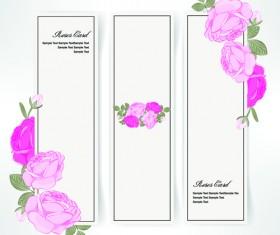 Pink rose banner vector material 02