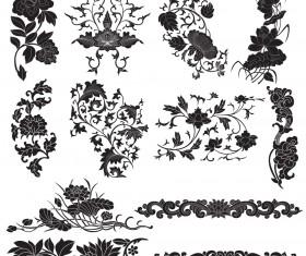 Plant flourish decorative elements vector 01