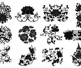 Plant flourish decorative elements vector 02