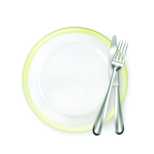 Plate and cutlery creative vector set 02 - Vector Life free download