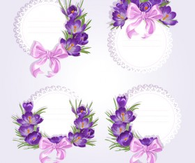 Purple flower with bow vector cards 01