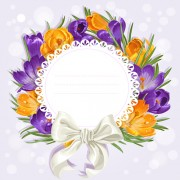 Link toPurple flower with bow vector cards 02