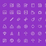 Purple line icons for life material