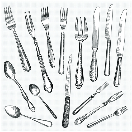 realistic kitchen cutlery design vector graphics 12 free download