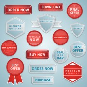 Link toRed and gray sale labels and badge vector