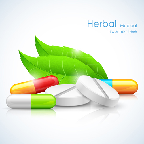 Refreshing Herbal Medical Vector Background 03 Over