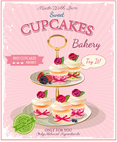 Retro advertising poster cupcakes vector 02 - Vector Cover, Vector ...