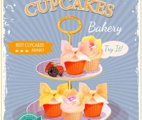 Retro advertising poster cupcakes vector 03