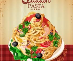 Retro italian pasta menu cover vector 01