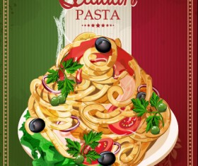 Retro italian pasta menu cover vector 03