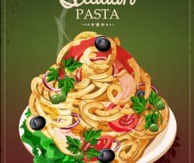 Retro italian pasta menu cover vector 04