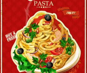 Retro italian pasta menu cover vector 05
