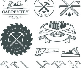 Retro labels and emblems set vector material 04
