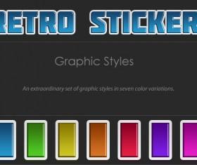 Retro stickers text styles