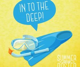 Retro summer advertising poster vector set 02
