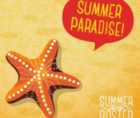 Retro summer advertising poster vector set 05