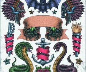 Retro tatoo creative design vector set 01
