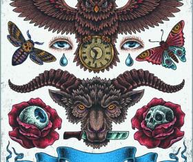 Retro tatoo creative design vector set 04