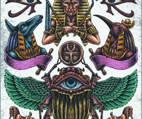 Retro tatoo creative design vector set 05