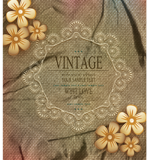 Romantic vintage cards with love vector 02