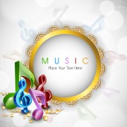 Link toRound lace frame music background vector