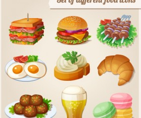 Set of different food icons vector material