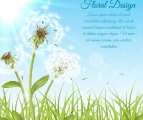 Shiny dandelion vector backgrounds material 03