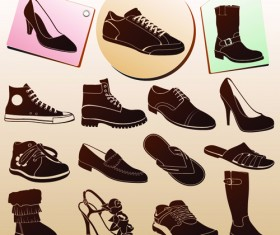 Shoes tags and shoes vector material