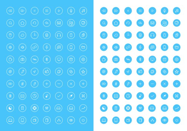 Small fine thin rounded web icons