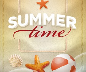 Summer holiday time poster cover vector 01