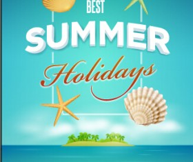 Summer holiday time poster cover vector 02