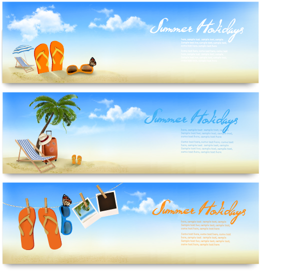 summer holiday travel time vector banner