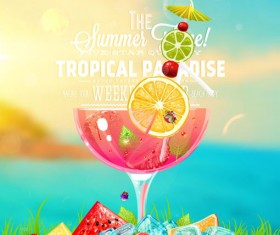 Summer ice drink poster creative vector