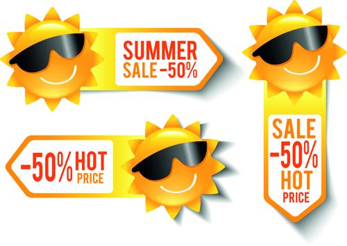 summer sale discount stickers with sun vector vector label free rh freedesignfile com Sun Radiation Vector Summer Sun Silhouette