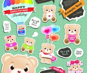 Super cute teddy bear design vector graphics 01