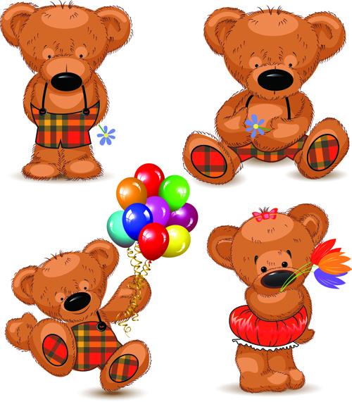 Super Cute Teddy Bear Design Vector Graphics 02 Free Download